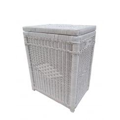 Kensington Rectangular Wicker Laundry Basket White