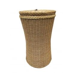 Kensington Tall Round Wicker Laundry Basket Natural