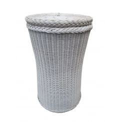 Kensington Tall Round Wicker Laundry Basket White