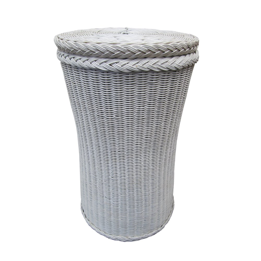 Kensington Tall Round Wicker Laundry Basket White