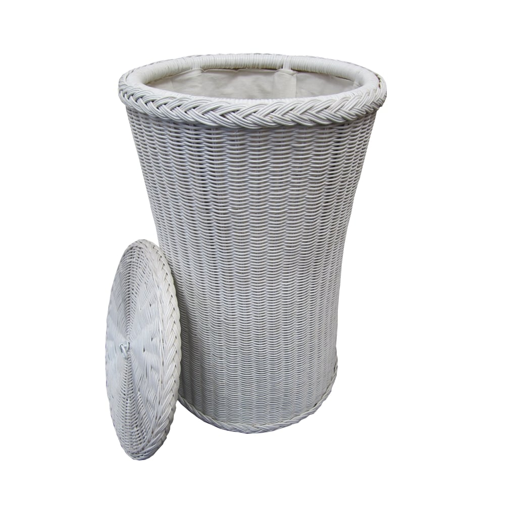 Buy kensington tall round wicker laundry basket white White wicker washing basket