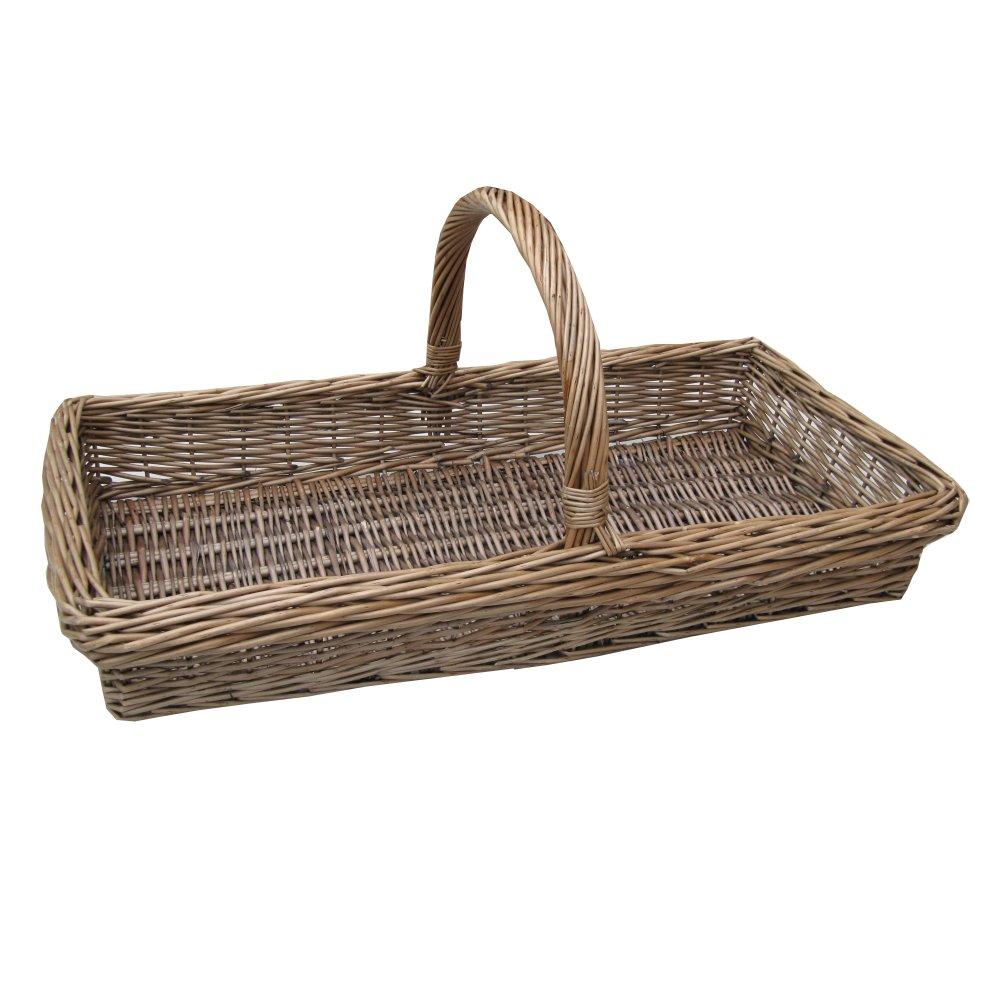 Antique Wash Wicker Lined Storage Basket: Kew Antique Wash Wicker Trug Basket