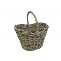 Large Grey & Buff Deep Rattan Wicker Shopping Basket