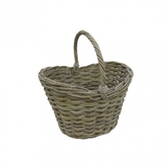 Large Grey & Buff Deep Rattan Wicker Shopping Basket