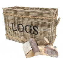 Large Grey & Buff Rattan Wicker Log Basket - 2 Sections