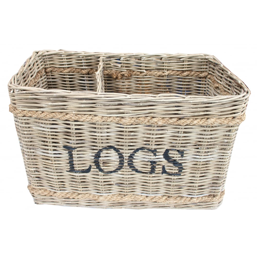 Wicker Basket With Sections : Large grey buff rattan wicker log basket sections