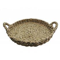 Large Round Shallow Reed Storage Basket