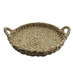 Large Round Shallow Reed Storage Basket