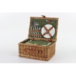 Luxury Tweed 2 Person Picnic Wicker Hamper Basket