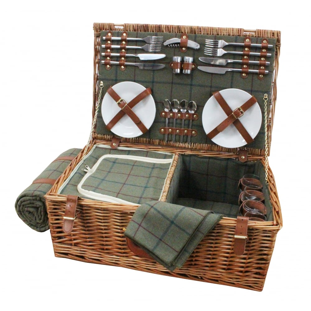 Picnic Baskets For 4 Ireland : Luxury tweed person picnic wicker hamper basket