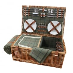 Luxury Tweed 4 Person Picnic Wicker Hamper Basket