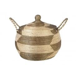 Marrakesh Round Seagrass Floor Basket Storage- Natural Black & White