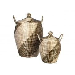 Marrakesh Seagrass Alibaba Laundry Basket Natural Black & White - Round