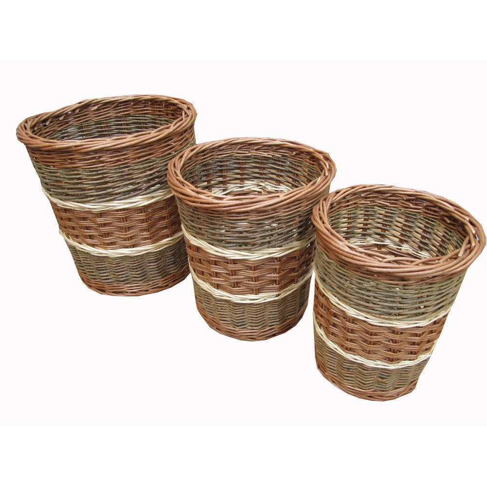 Buy multi tone round wicker waste paper bins log baskets - Wicker trash basket ...