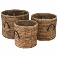Natural Brown Banana Leaf & Seagrass Round Storage Baskets / Log Baskets