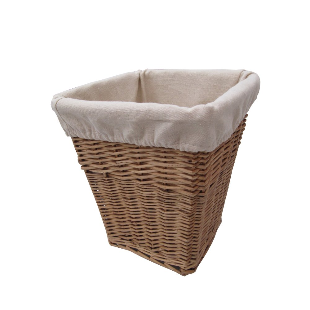 Natural Lined Square Wicker Waste Paper Bin From The