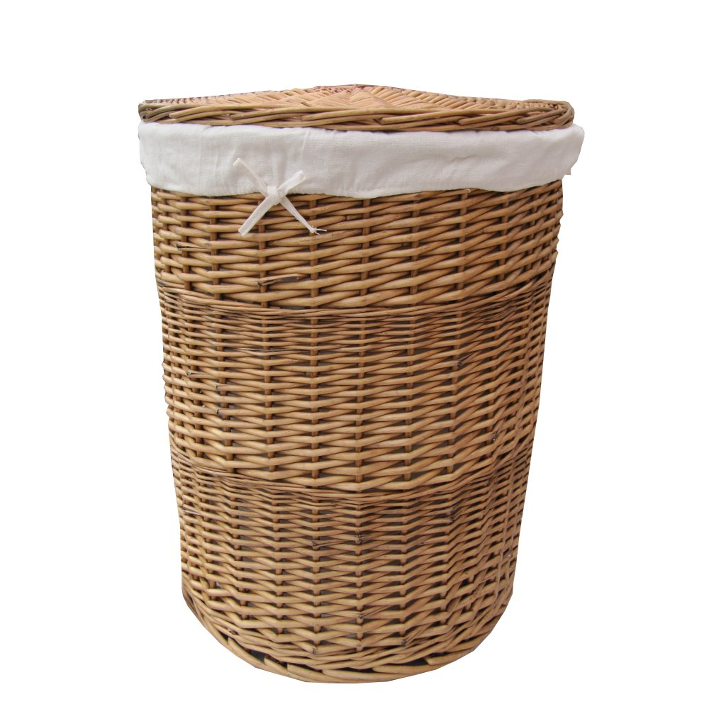 Buy natural round wicker laundry basket online from the basket company - Rattan clothes hamper ...