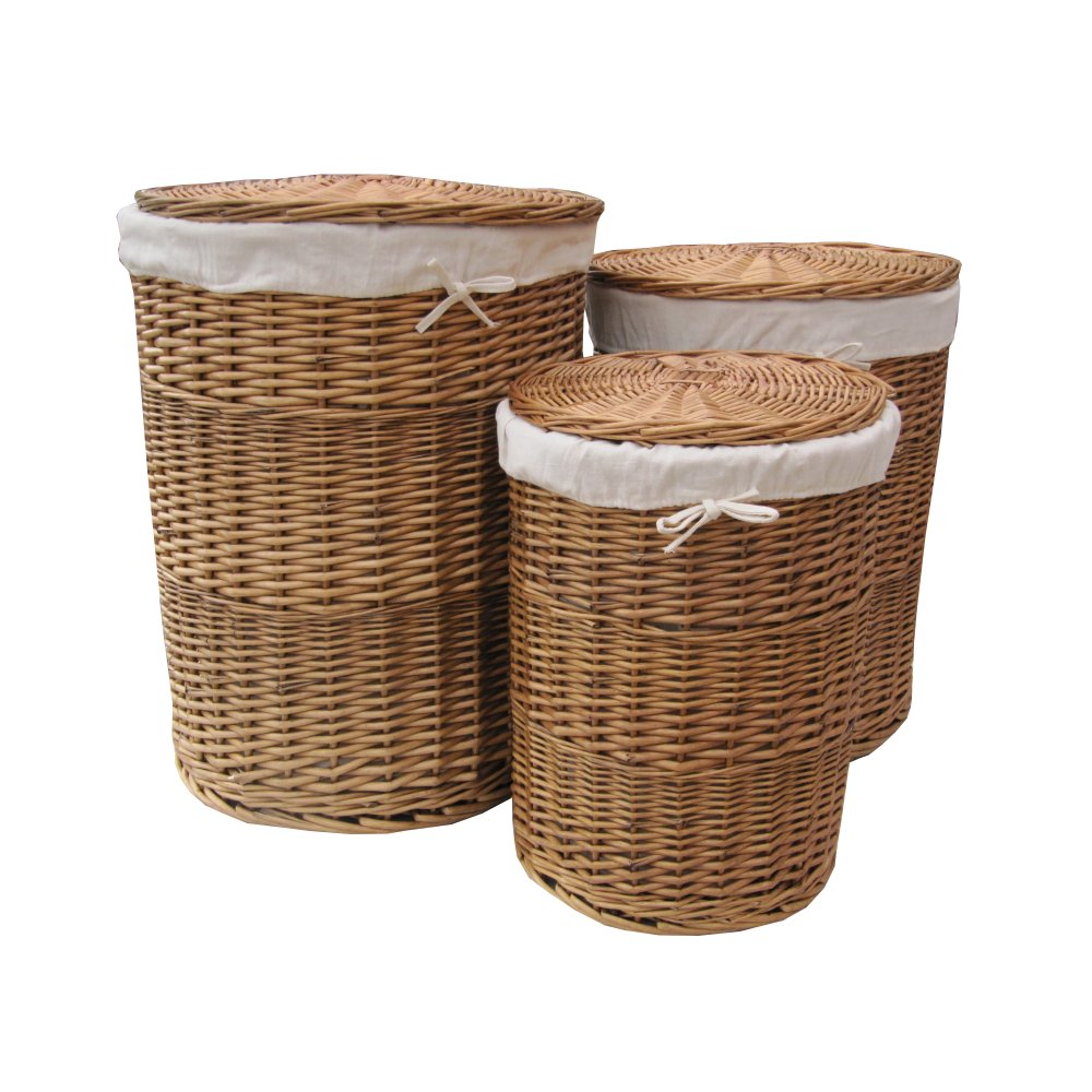 Buy natural round wicker laundry basket online from the basket company - Rattan laundry basket with lid ...