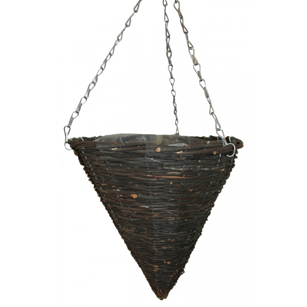 Plant pots amp planters natural wicker cone shape hanging basket