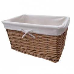 Natural Wicker Lined Storage Basket