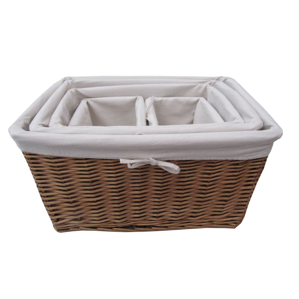 Buy natural wicker lined storage basket from the basket company