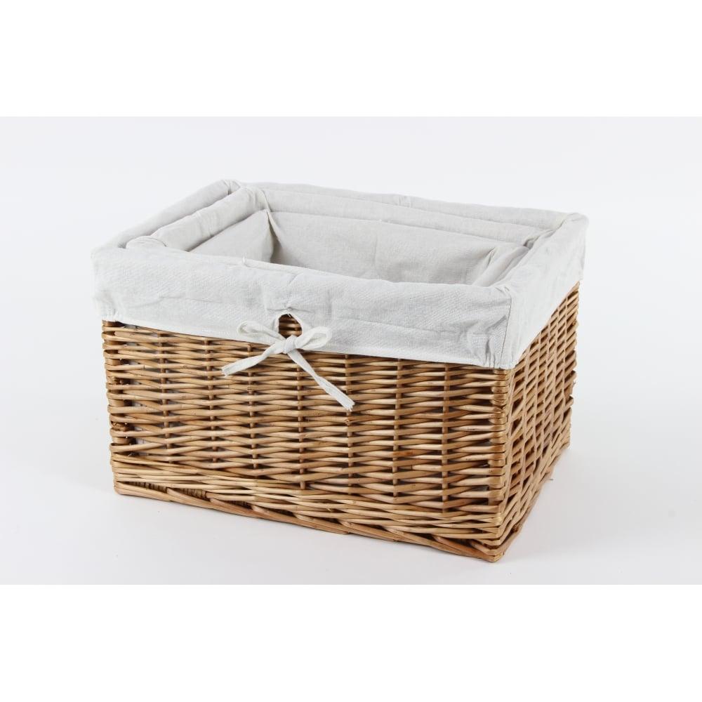 Buy Melbury Rectangular Wicker Storage Basket From The: Natural Wicker Rectangular Deep Storage Basket