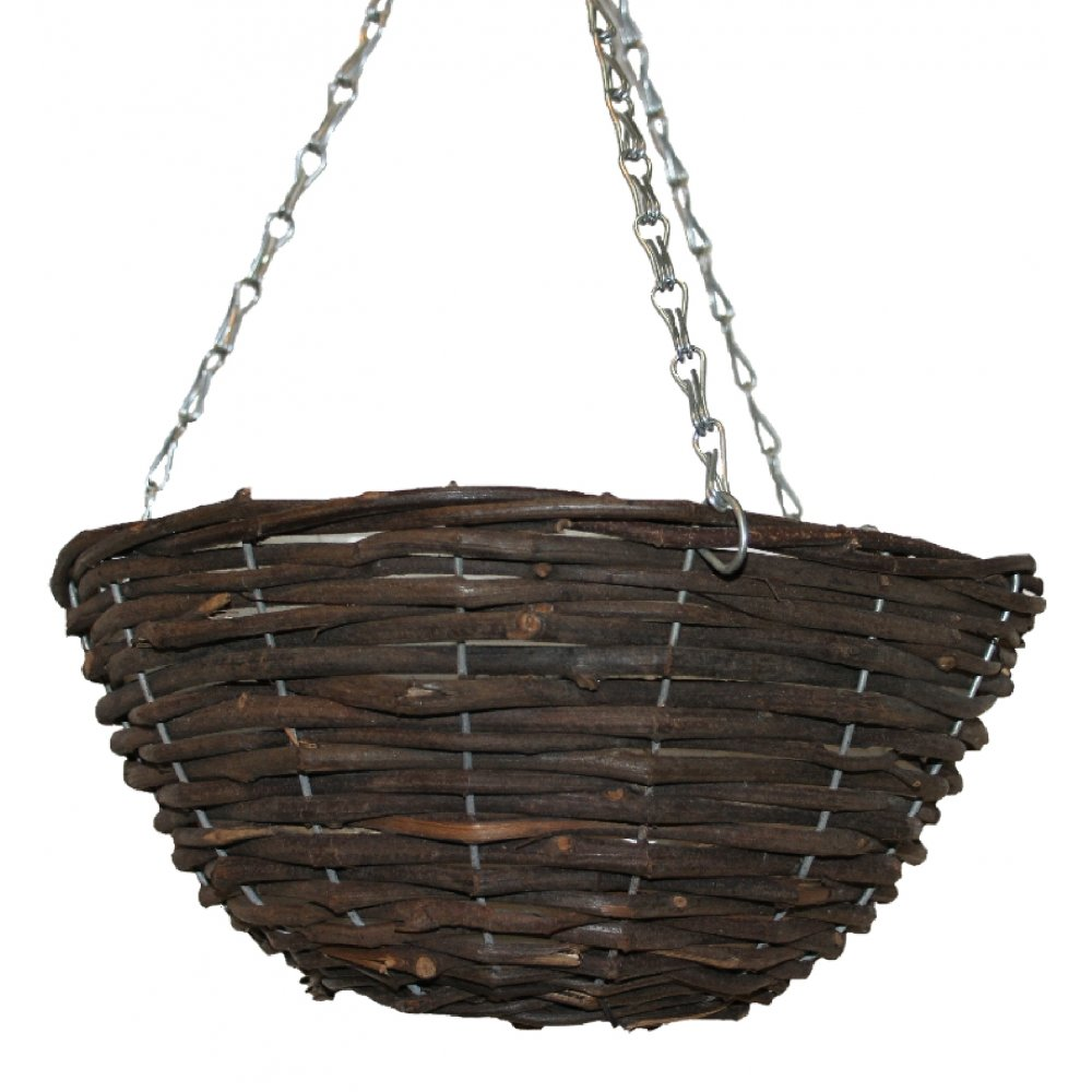 Natural Wicker Round Hanging Basket