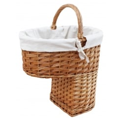 Natural Wicker Stair Storage Basket Lined