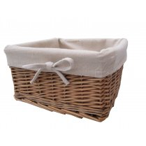 Natural Wicker Storage Basket Square - Lined
