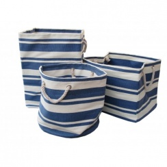 New England Blue & White Stripe Canvas Bags - Square, Round or Rectangular