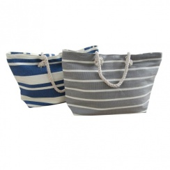 New England Canvas Shopping Bag - Grey & White Stripe / Blue & White Stripe