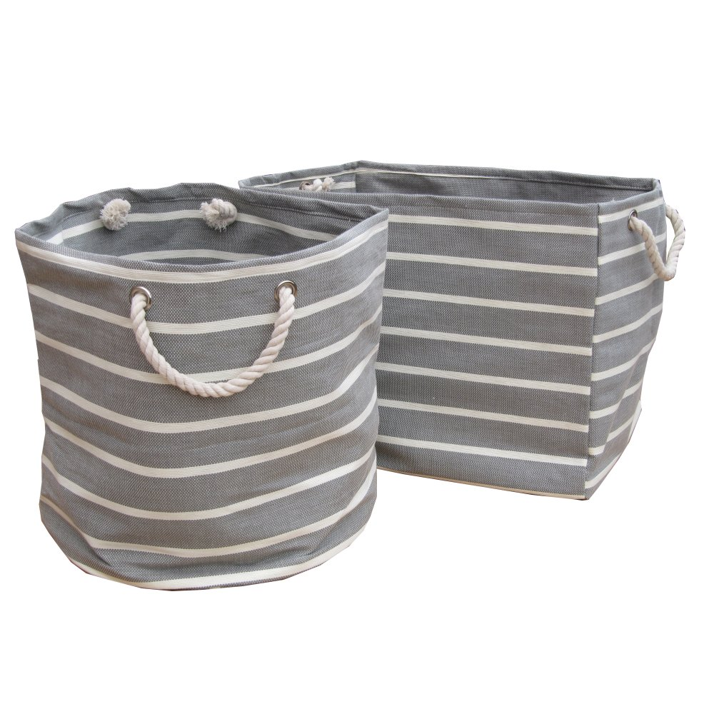 Soft Rush Lidded Rectangular Lined Storage Basket: Grey & White Stripe Large Canvas Bags