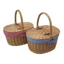 Oval Lidded Wicker Picnic Basket - Shopping Basket - Sewing Basket