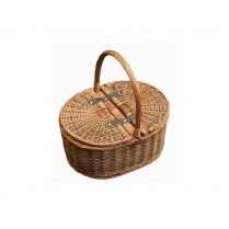 Oval Lidded Wicker Picnic Basket | Shopping Basket | Sewing Basket