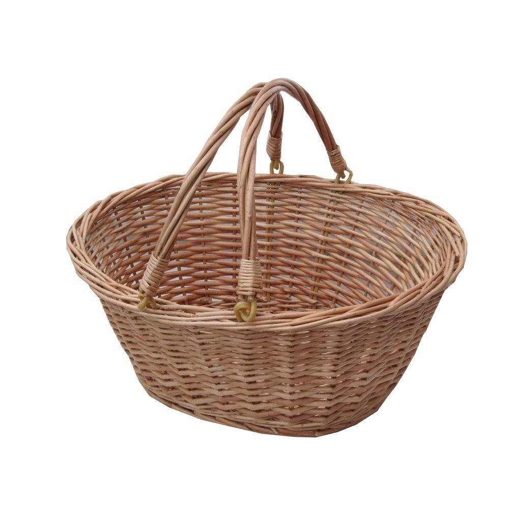 Buy Oval Wicker Shopping Basket With Swing Handles The