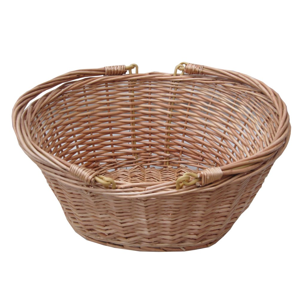 buy oval wicker shopping basket with swing handles the basket company. Black Bedroom Furniture Sets. Home Design Ideas