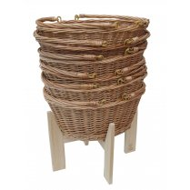 Pine Wooden Stand For Wicker Shopping Baskets