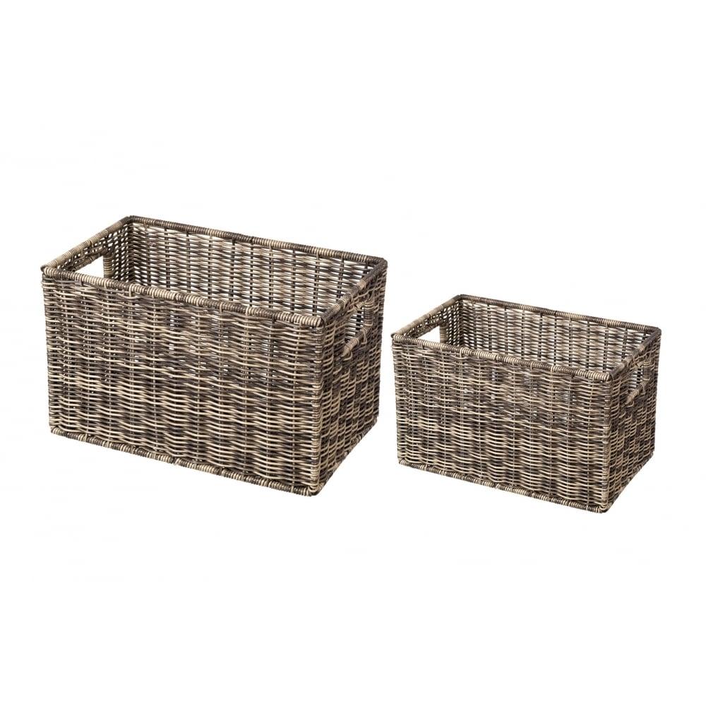 Wicker storage basket home storage baskets melbury rectangular wicker -  Wicker Storage Basket Duck Barn Interiors Polywicker Brown Rectangular Deep Storage Basket From