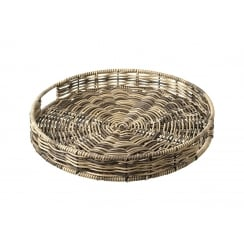 Polywicker Brown Round Tray Basket