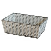 Polywicker White & Grey Rectangular Storage Basket