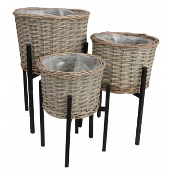 Win a set of 3 Grey Wash Wicker Round Planters with Stands