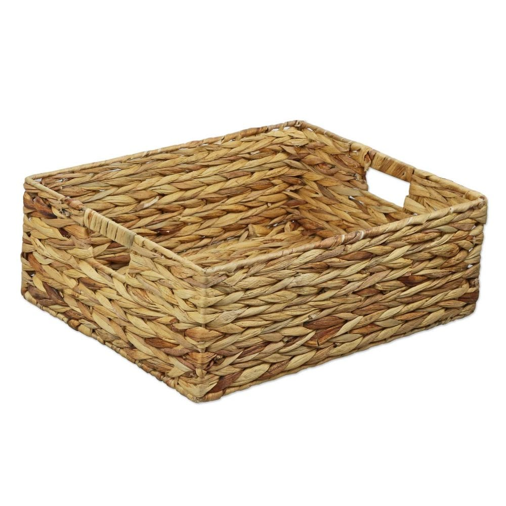 Water Hyacinth Rectangular Shallow Storage Basket Wicker Tray Hamper Handles