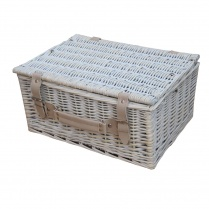 "Provence 16"" White Wash Wicker Storage Trunk 