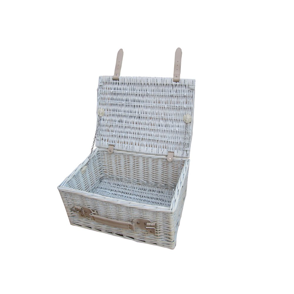 Provence 16 white wash wicker storage trunk hamper basket - White wicker clothes hamper ...