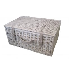 "Provence 24"" White Wash Wicker Storage Hamper Basket"