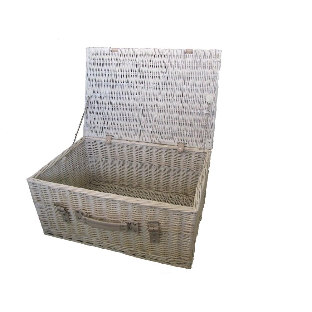 provence 24 white wash wicker storage hamper basket. Black Bedroom Furniture Sets. Home Design Ideas