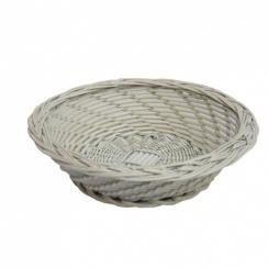 Provence Round White Wicker Storage Basket - White Wash Effect