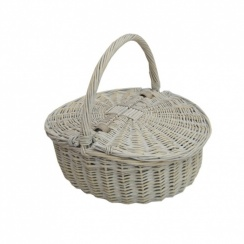 Provence White Wash Oval Lidded Wicker Picnic Basket | Shopping Basket | Sewing Basket