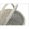 Provence White Wash Oval Lidded Wicker Picnic Basket | Shopping Basket | Sewing Basket