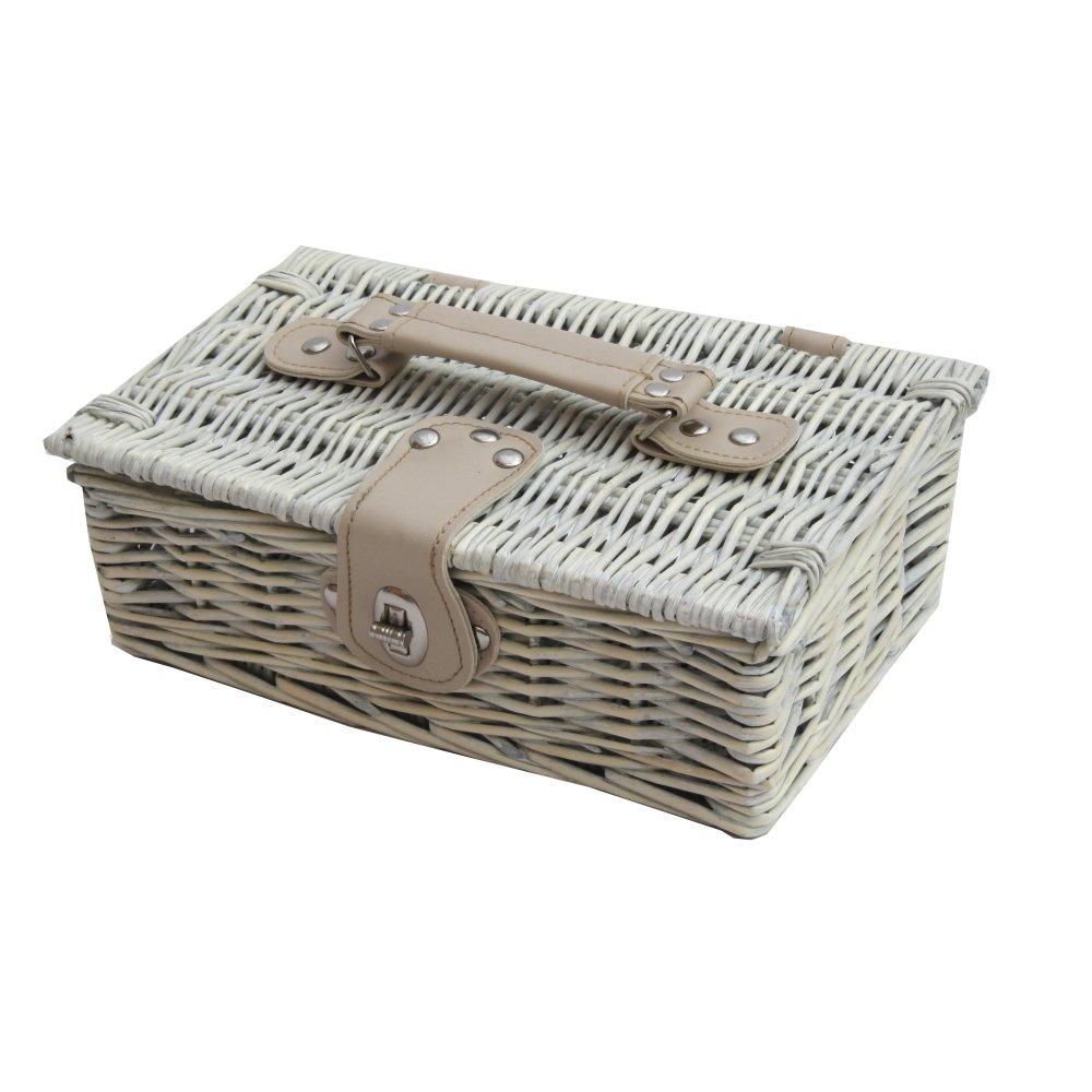 buy provence white wash small wicker empty hamper basket. Black Bedroom Furniture Sets. Home Design Ideas